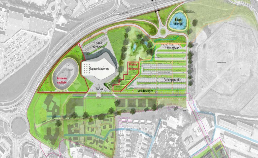 Vue et plan de l'Espace Mayenne à Laval